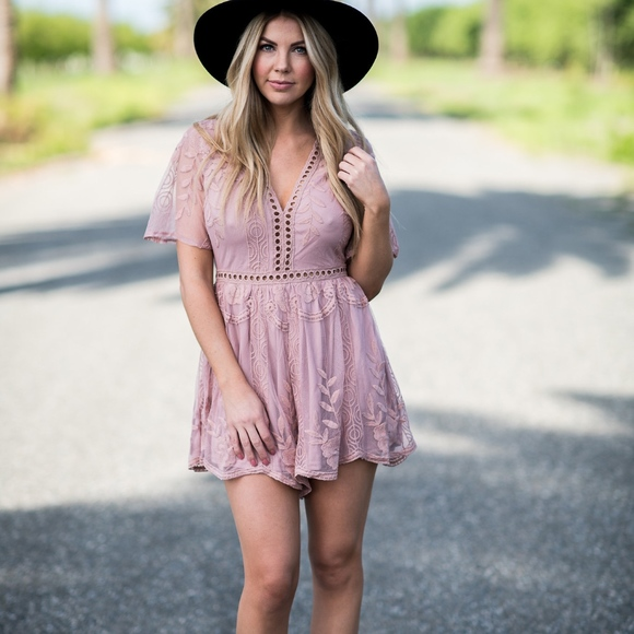 Unbranded Other - Blush Lace Maxi Romper Shorts Vacation Graduation